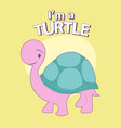 cute cartoon style turtle with title above on vector image