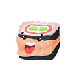 cute sushi character roll with funny face vector image vector image