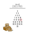 days till christmas countdown with hand-drawn vector image vector image