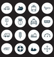 delivery icons set with sea rescue plane vector image