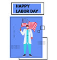 doctor in uniform holding usa flag labor day vector image vector image