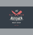 emblem of butcher meat shop with cleaver and chefs vector image vector image