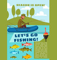 fishing sport poster with fisherman fish and rod vector image vector image