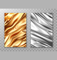 foil golden and silver crumpled metal texture vector image