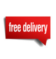 free delivery red 3d realistic paper speech bubble vector image vector image