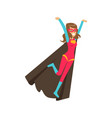 girl flying superhero in classic comics costume vector image vector image