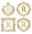 golden letter r vintage monograms set heraldic vector image vector image