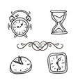 hand drawn set clocks and watches vector image