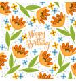 happy birthday doodle orange cute flowers vector image vector image