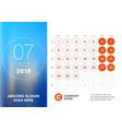 july 2019 desk calendar for 2019 year design vector image vector image