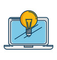 laptop computer with bulb vector image vector image