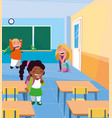 little students kids in the classroom vector image
