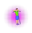 Man exercising on cable machine icon comics style vector image vector image