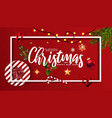 merry christmas card with ornaments vector image