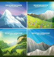 Mountain Landscapes 4 Flat Icons Square vector image vector image