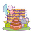 mouse with cake and balloons helium in field vector image vector image