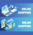 online shopping isometric banners vector image vector image