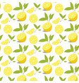 pattern of lemon slices with leaves vector image vector image