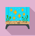 rectangular aquarium icon flat style vector image