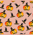 seamless halloween pattern halloween pumpkin vector image vector image