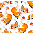 seamless pattern with baby christmas fox vector image