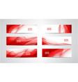 set abstract silk wavy headers red vector image vector image