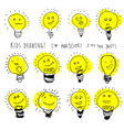 set bulb icons stylized kids drawing children vector image