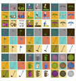 set of icons in flat design golf equipments vector image