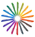 set of multicolored pens placed in a circle vector image