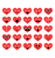 set of Valentine hearts smiles in different emotio vector image vector image