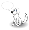 Sketchy cartoon dog with speaking bubble vector image vector image