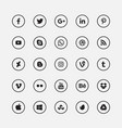 Social media black circular icons set vector