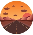 straight road towards the sunset in the mountains vector image vector image