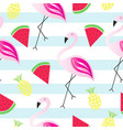 summer texture - seamless pattern with flamingo vector image