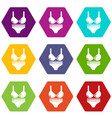 swimsuit icons set 9 vector image vector image