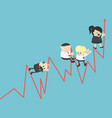 teamwork concept little business bar graph vector image
