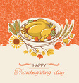 Thanksgiving day card with roasted turkey dish vector image vector image