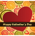 valentine day card with fruits and heart vector image vector image