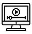 video on monitor icon outline style vector image vector image