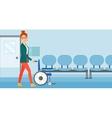 Woman pushing wheelchair vector image vector image
