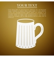 Wooden beer mug flat icon on brown background vector image vector image