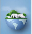 family of animal the elephants are look for food vector image