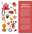 amazing circus promo poster with participants of vector image vector image