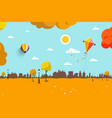 autumn empty city park flat design landscape vector image