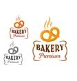Bakery emblems with fresh pretzel vector image