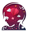 beautiful paper head girl air balloon vector image vector image