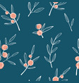 berry branch seamless pattern vector image vector image