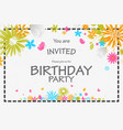 birthday invitation card with beautiful flower vector image vector image