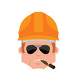 builder serious emotion avatar worker in vector image