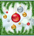 christmas balls with fir twigs and snow vector image vector image